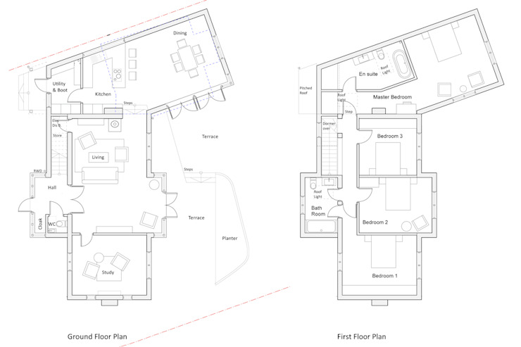 Floor Plans for Extended & Reconfigured 1950s House من ArchitectureLIVE