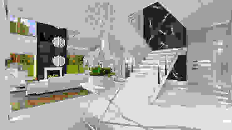 Dom z widokiem MG Projekt Projekty Domów Pasillos, vestíbulos y escaleras modernos
