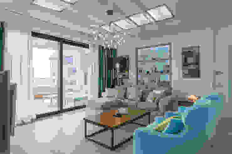 Bellarte interior studio Scandinavian style living room Turquoise