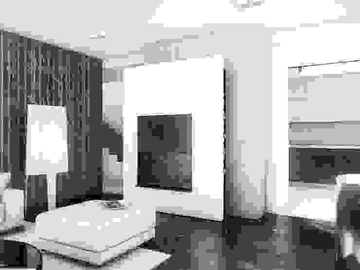 BŚ Cutout Architects Nowoczesny korytarz, przedpokój i schody