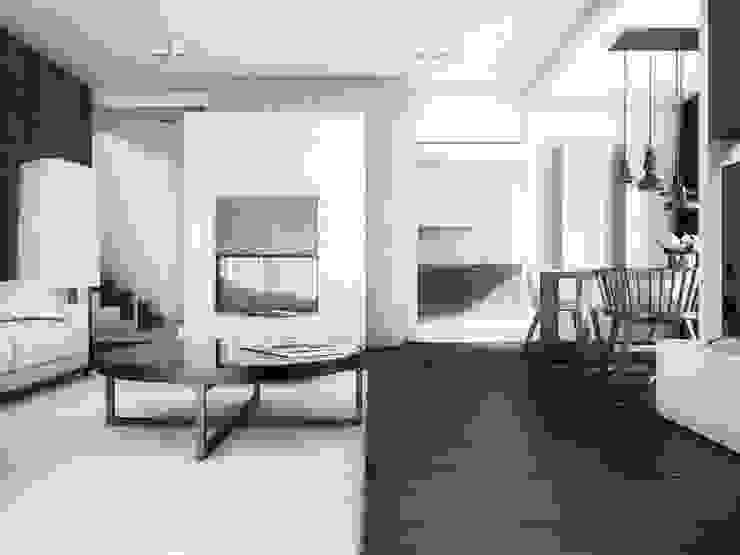 BŚ Cutout Architects Nowoczesne ściany i podłogi