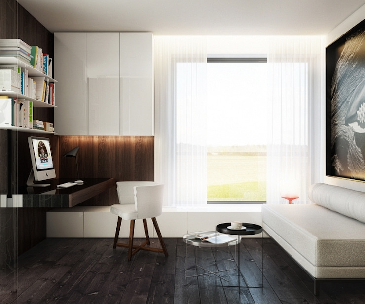 BŚ Cutout Architects Nowoczesna sypialnia