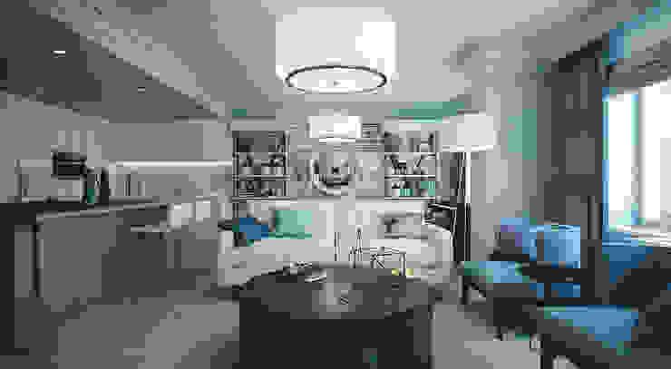 Living room Гостиные в эклектичном стиле от KAPRANDESIGN Эклектичный Камень