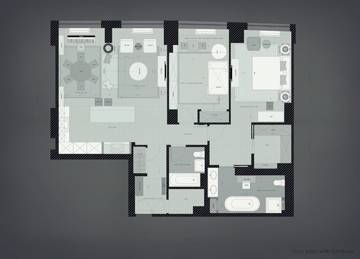 Floorplan Окна и двери в эклектичном стиле от KAPRANDESIGN Эклектичный Дерево Эффект древесины