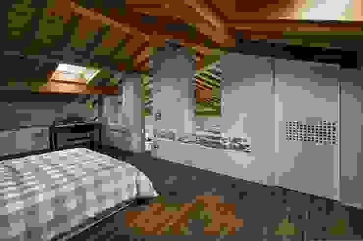 Camera da letto - come una baita PADIGLIONE B Camera da letto moderna Legno