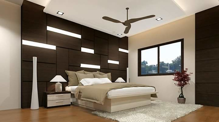 Wall panelled bedroom set: asian  by Elegant Dwelling,Asian Plywood