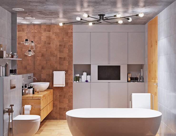 Студия дизайна ROMANIUK DESIGN Industrial style bathroom Brown
