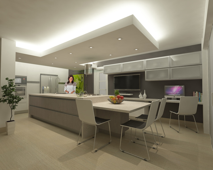 Cuisine minimaliste par OPFA Diseños y Arquitectura Minimaliste Bois composite