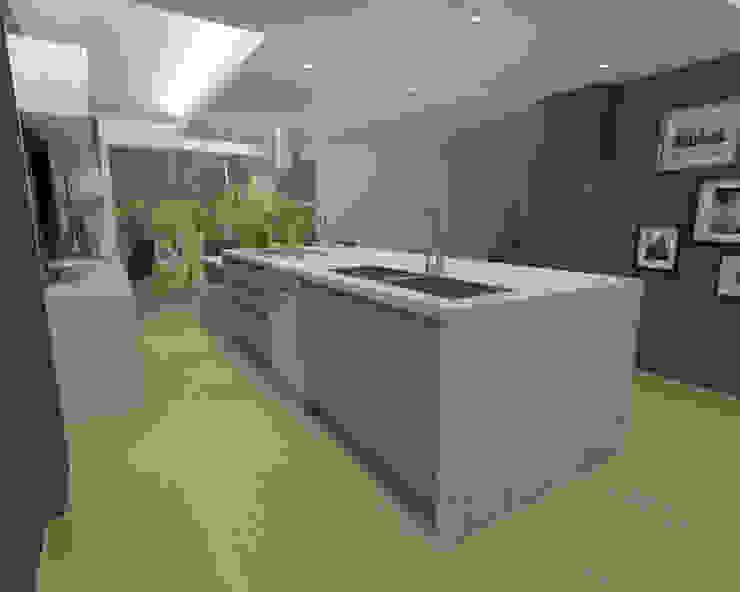 OPFA Diseños y Arquitectura Nhà bếp phong cách tối giản Gỗ-nhựa composite Grey