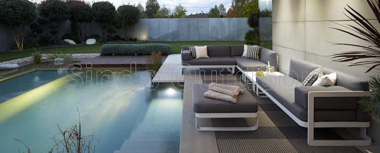 VERONA GRIS CON TABURETE Hoteles de estilo moderno de SINDO OUTDOOR Moderno Aluminio/Cinc