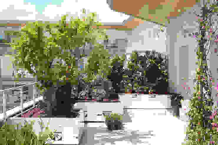 Varandas, alpendres e terraços mediterrâneo por Febo Garden landscape designers Mediterrâneo Alumínio/Zinco
