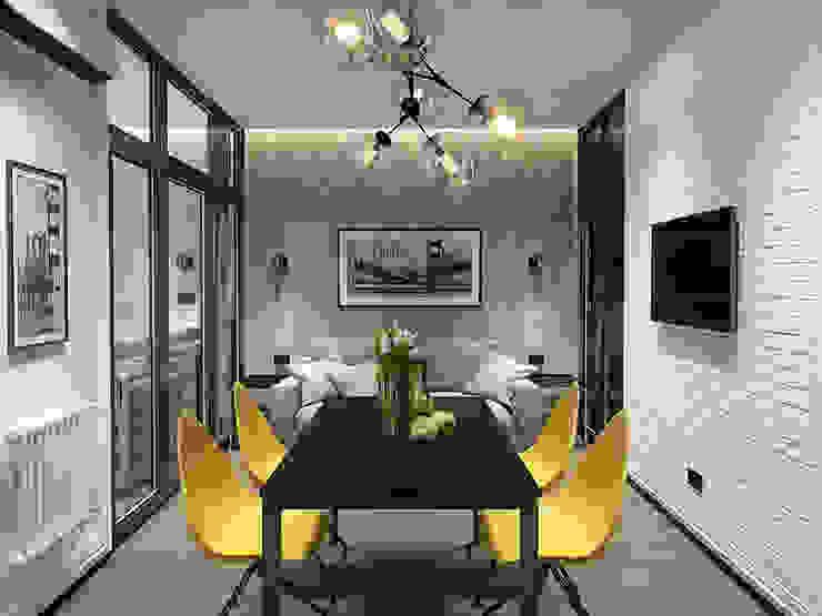 квартира в ЖК Квартал 918: Гостиная в . Автор – Y.F.architects, Лофт Бетон
