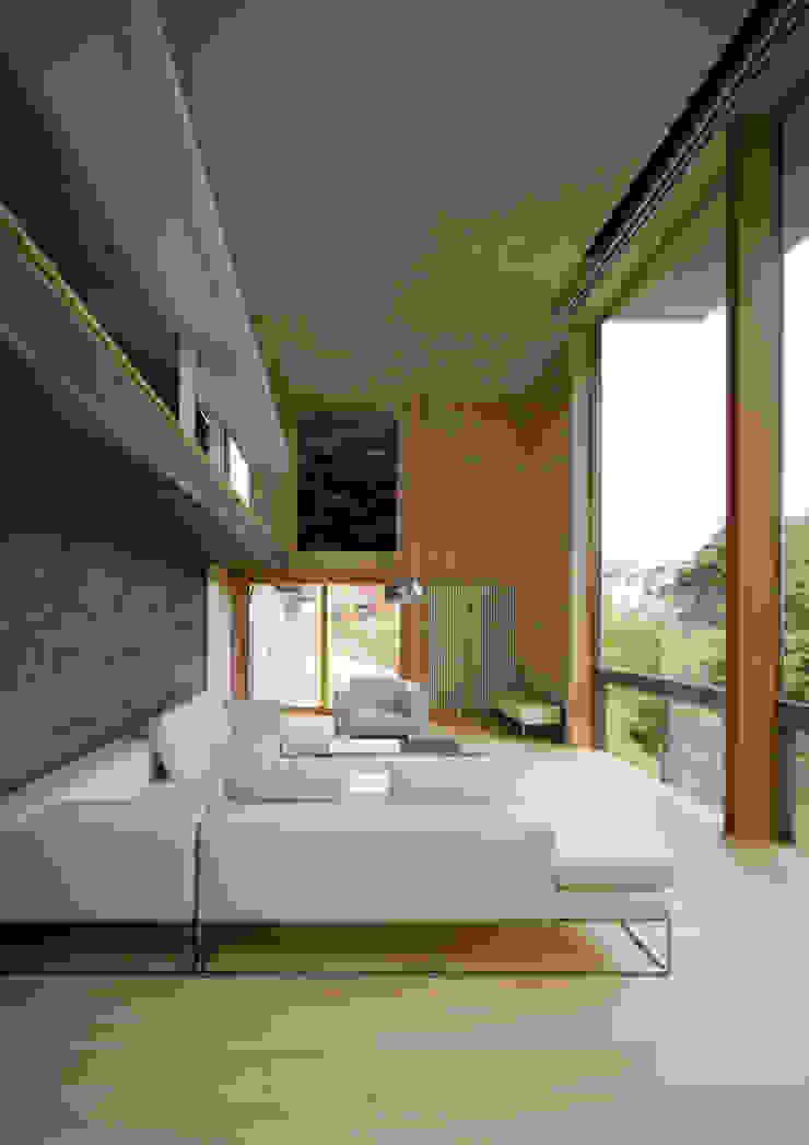 愛車と暮らす家(フェラーリ) モダンデザインの リビング の Kenji Yanagawa Architect and Associates モダン 木 木目調