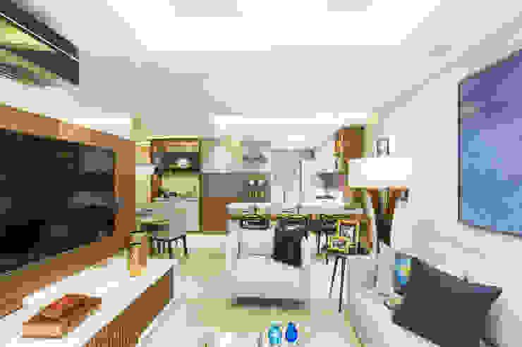 غرفة المعيشة تنفيذ Juliana Agner Arquitetura e Interiores, حداثي