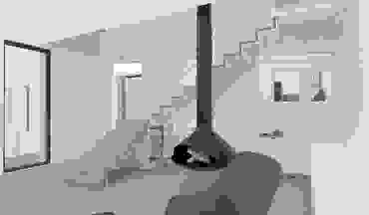 Yeme + Saunier Minimalist corridor, hallway & stairs Metal Wood effect