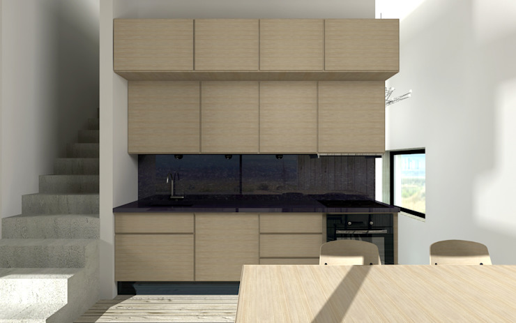 Cocinas de estilo industrial de BIG IDEA studio projektowe Industrial Madera Acabado en madera