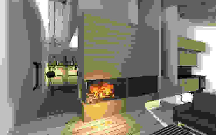 Salones de estilo  de BIG IDEA studio projektowe, Industrial Madera Acabado en madera