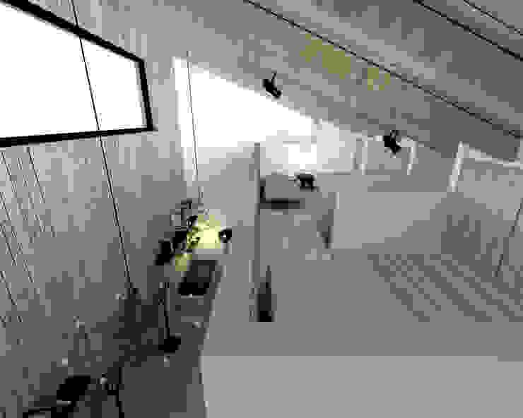 Dormitorios de estilo  de BIG IDEA studio projektowe, Industrial Madera Acabado en madera
