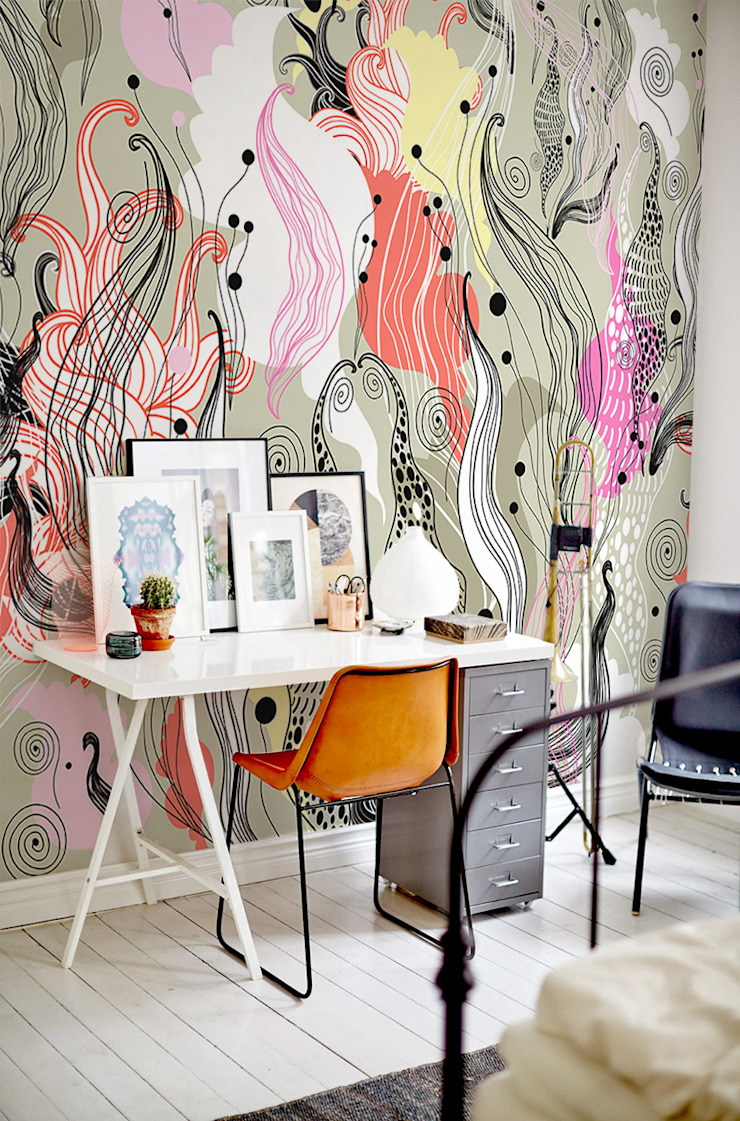 Wild flowers Modern Study Room and Home Office by Pixers Modern
