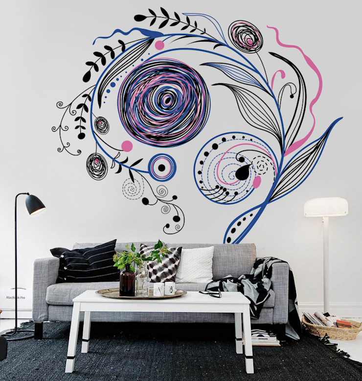 Floral Abstract Pixers Modern Living Room