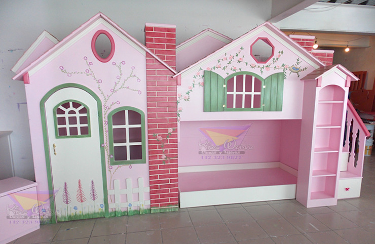 Preciosa Casita- litera con casita de juegos de camas y literas infantiles kids world Clásico Derivados de madera Transparente