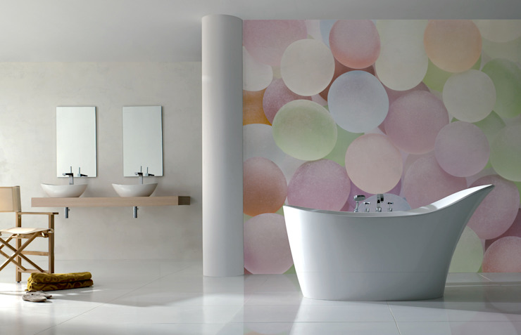 Colorful Stones Modern Bathroom by Pixers Modern