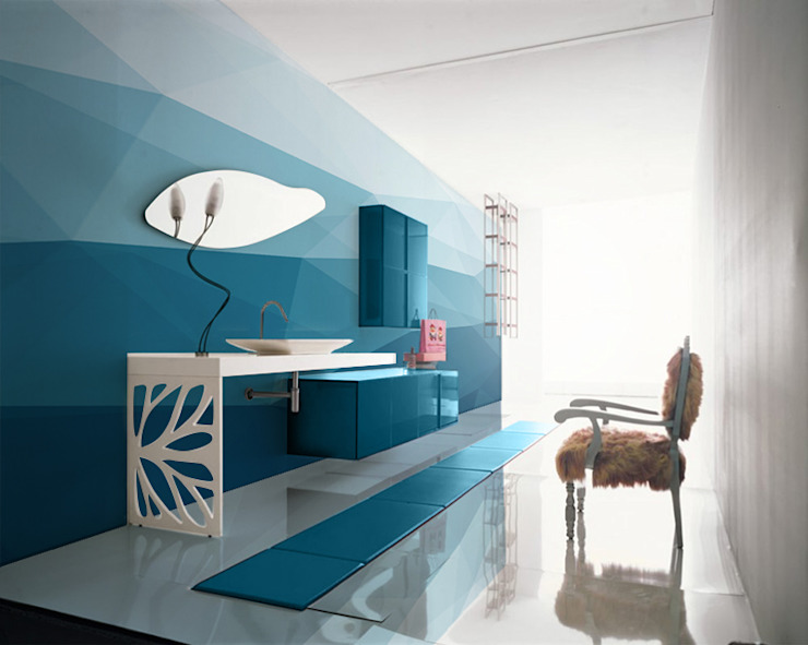 Big Blue Modern Bathroom by Pixers Modern