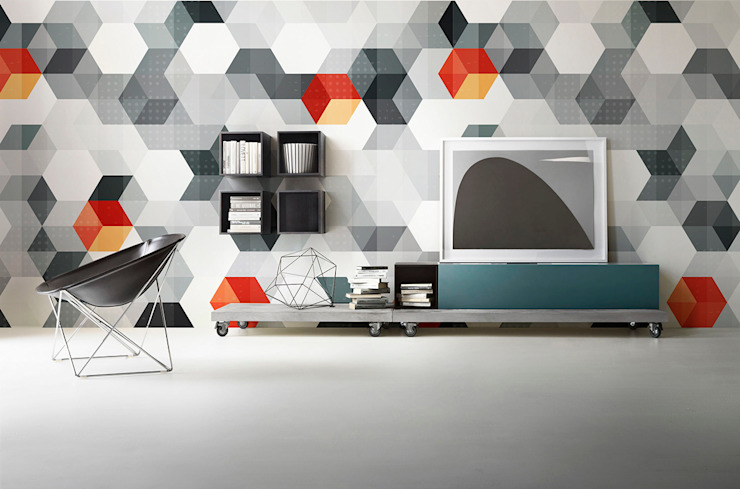 Hexagons Scandinavian style living room by Pixers Scandinavian