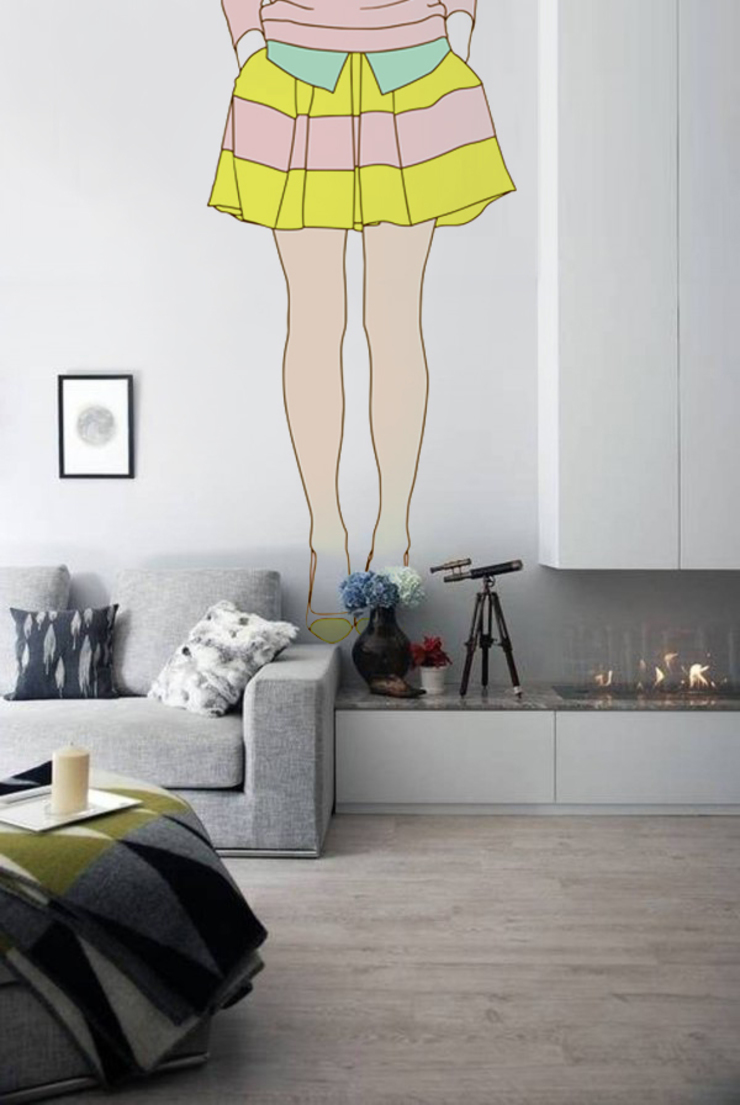 Yellow skirt Pixers Modern Living Room