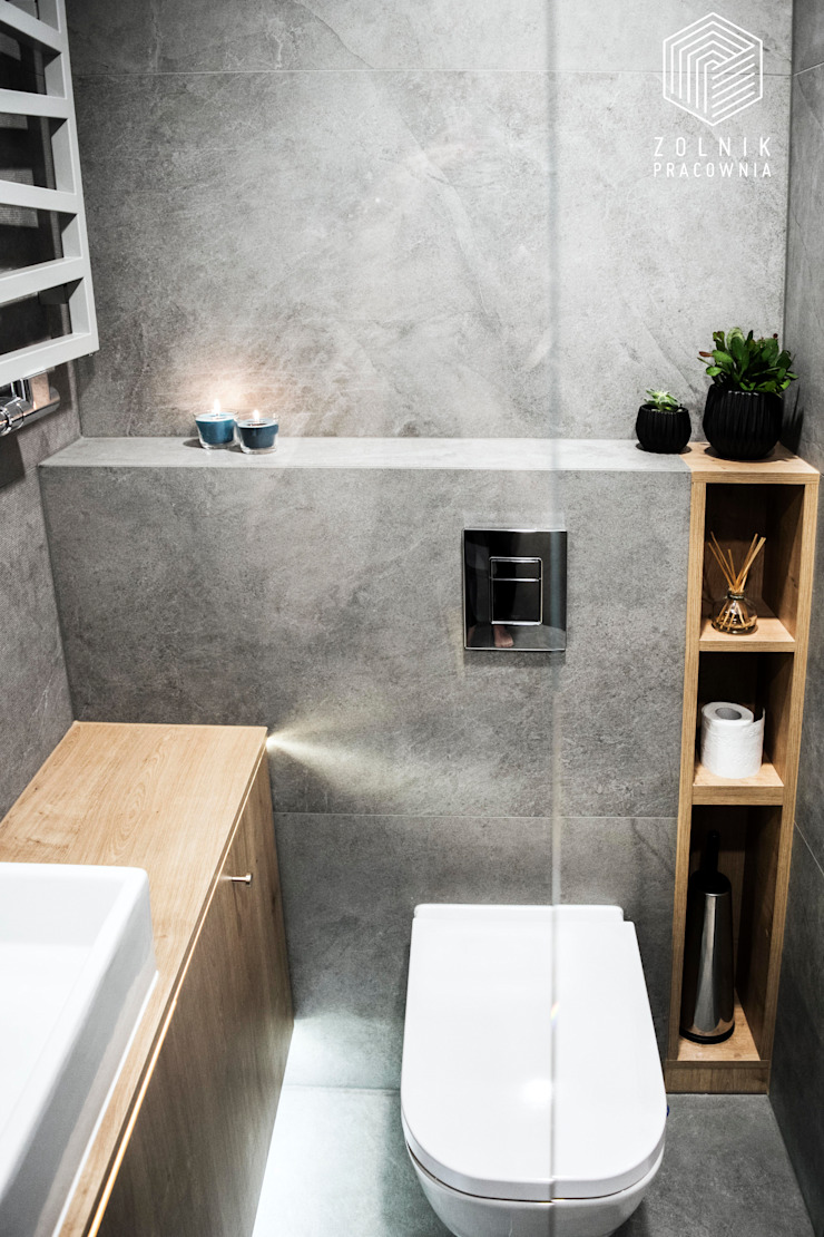 Zolnik Pracownia Bagno minimalista Cemento Grigio