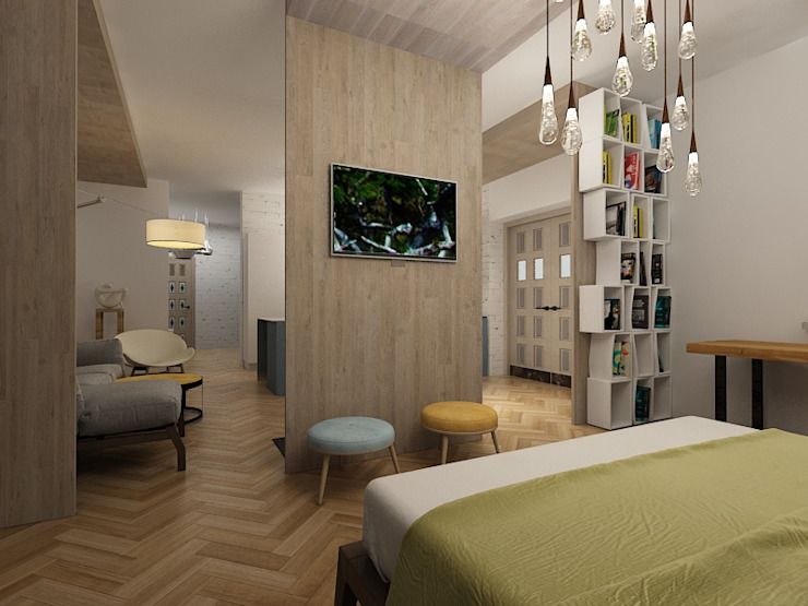 Dstudio.M Eclectic style bedroom Wood White