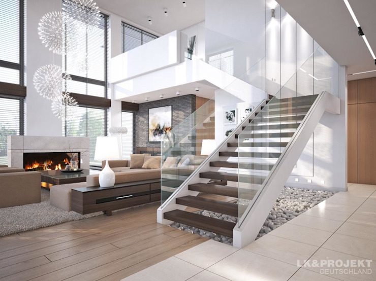 Modern Corridor, Hallway and Staircase by LK&Projekt GmbH Modern