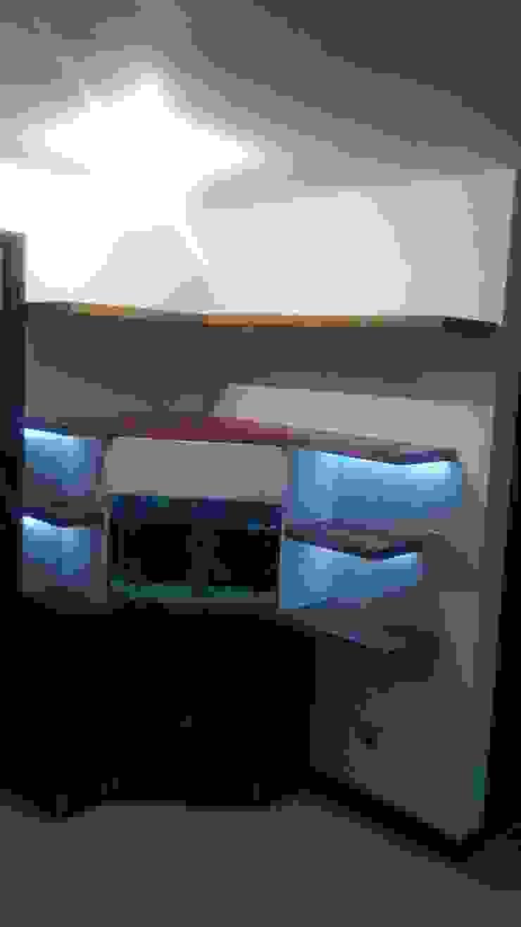 biblioteca - acuario Modulo Pasillos, vestíbulos y escaleras de estilo moderno Madera Blanco