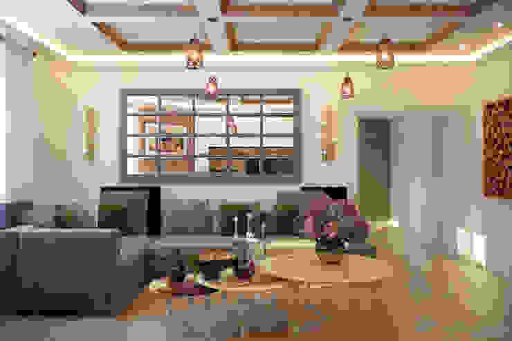 Дизайн кухни-гостиной в станице Смоленская Гостиная в стиле кантри от Студия интерьерного дизайна happy.design Кантри