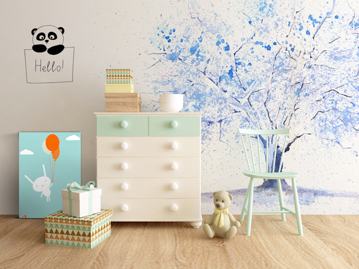 Blue Tree Scandinavian style nursery/kids room by Pixers Scandinavian