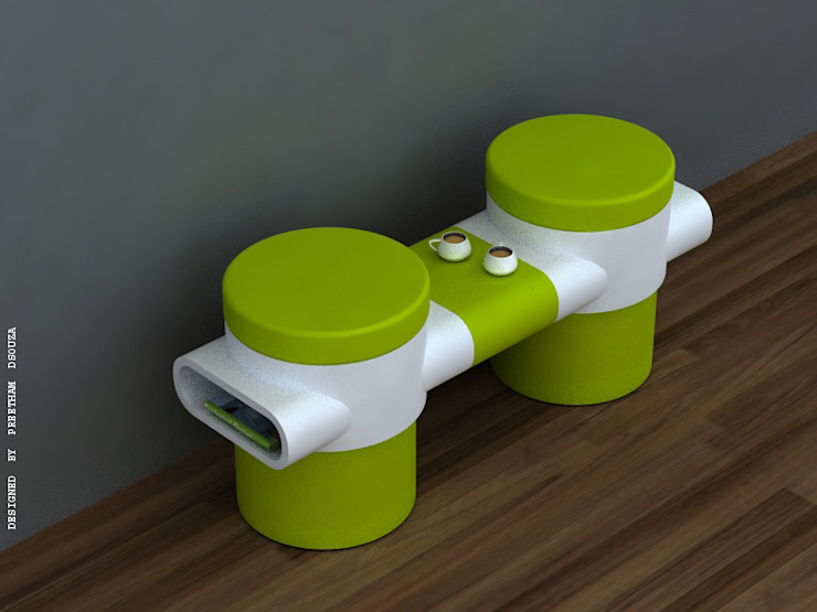 Twin stools with  detachable central console: modern  by Preetham  Interior Designer,Modern