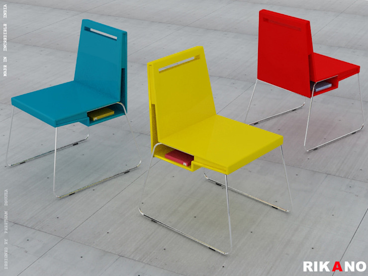Rikano - A chair with storage Preetham Interior Designer Office spaces & stores Yellow