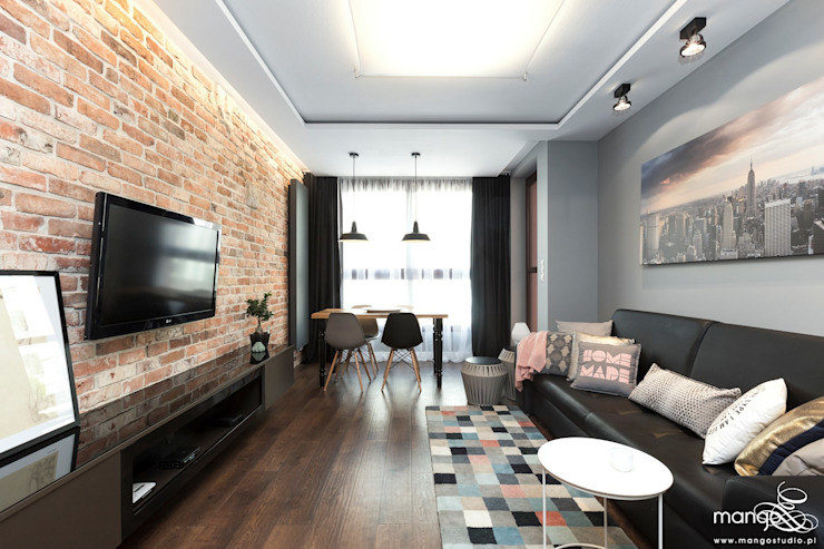MANGO STUDIO Modern Living Room Bricks Grey