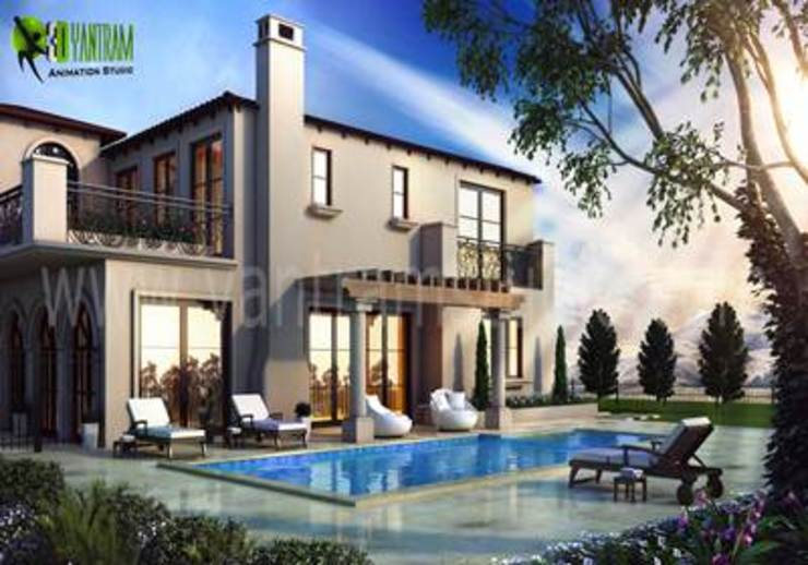 3D Exterior Pool Design Modern commercial spaces by Yantram Architectural Design Studio Modern