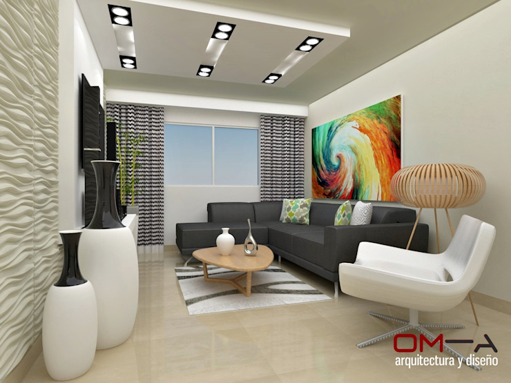 Living room by om-a arquitectura y diseño