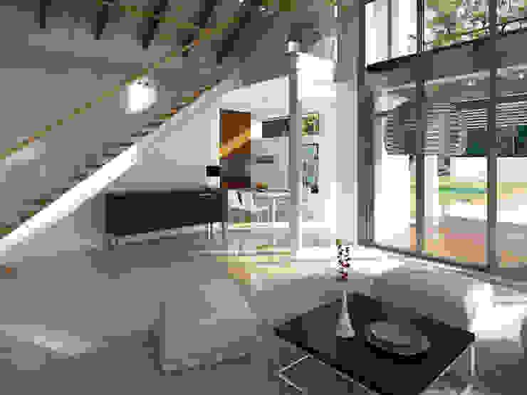 Wnętrze projektu domu Onyks Nowoczesny salon od Biuro Projektów MTM Styl - domywstylu.pl Nowoczesny