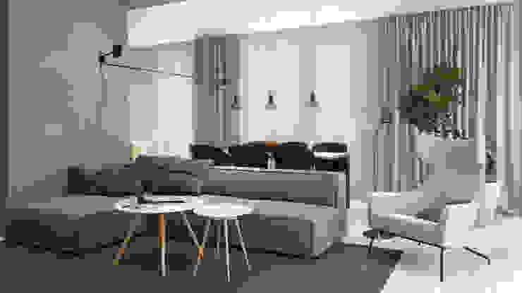 Apartament na Wilanowie Nowoczesny salon od Projektownia Wnętrz Nowoczesny