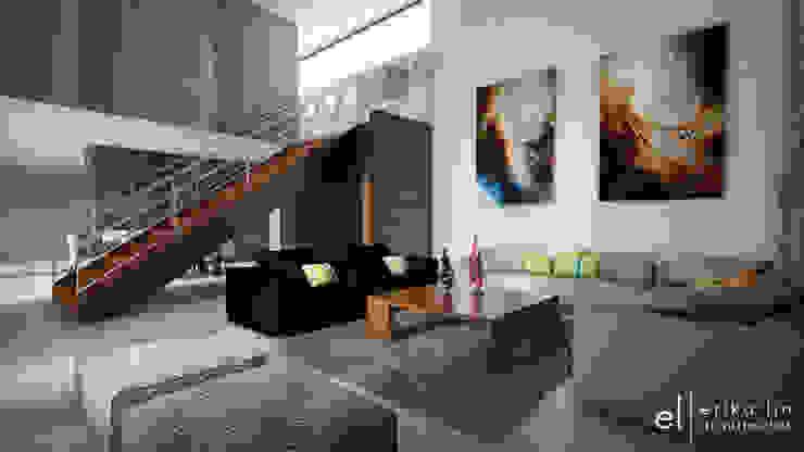 Casa San Quintin Salones modernos de ERIKA LIN Moderno Madera Acabado en madera