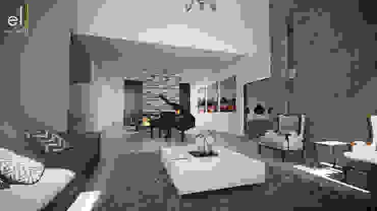 Casa Popotla Salones modernos de ERIKA LIN Moderno Piedra