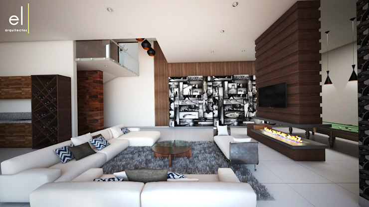 Casa Popotla Salas multimedia modernas de ERIKA LIN Moderno Madera Acabado en madera