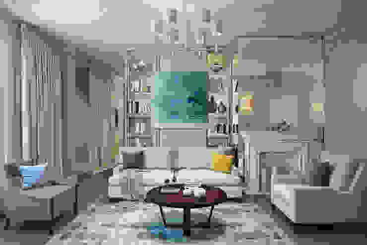 """Квартира в жк """"BARRIN HOUSE"""" Гостиная в классическом стиле от Студия Семена Вишнякова '1618 ROOM' Классический"""