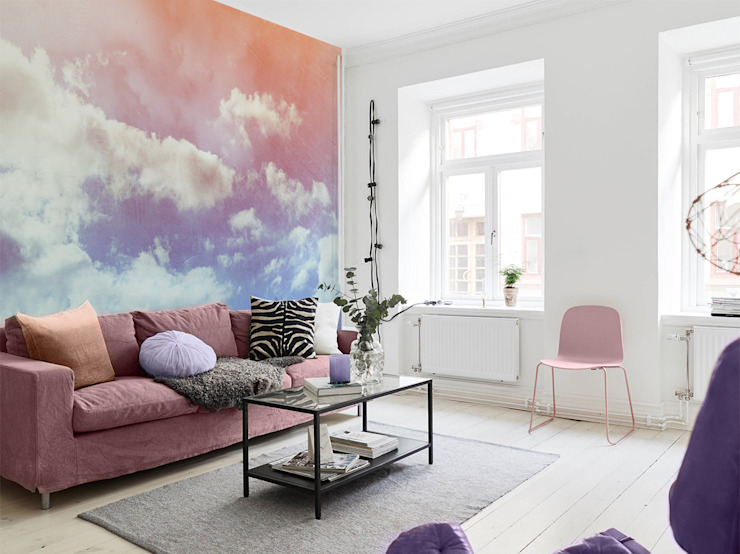 Pastel clouds Pixers Living room Pink