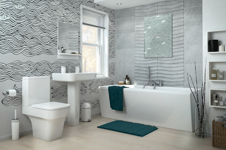 Black&White waves Modern Bathroom by Pixers Modern