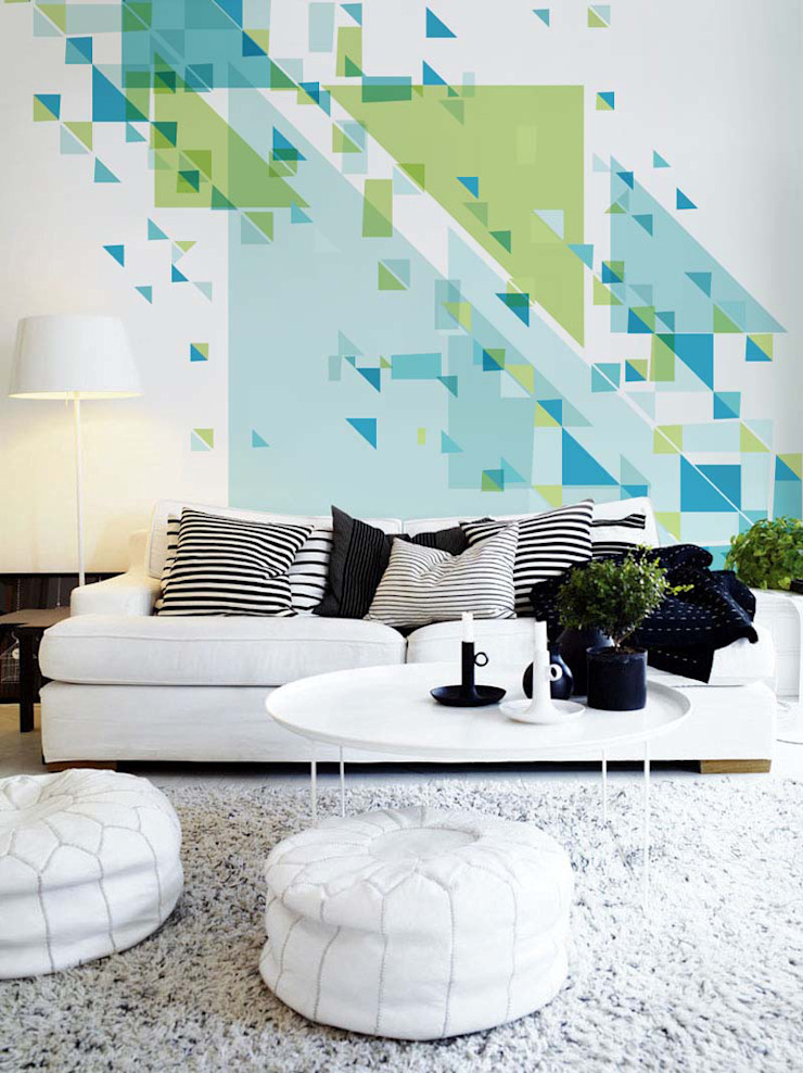 Unimposing Geometry Pixers Living room Blue