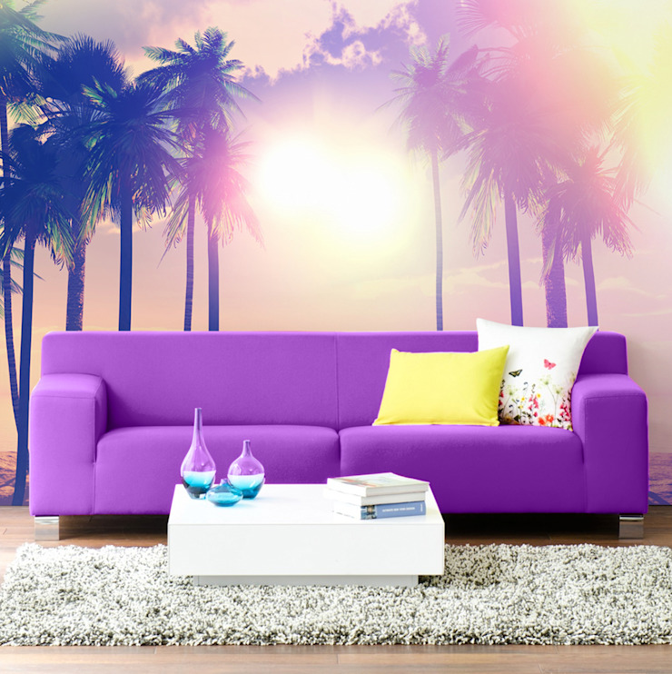 Palm trees and ocean Pixers ห้องนั่งเล่น Purple/Violet